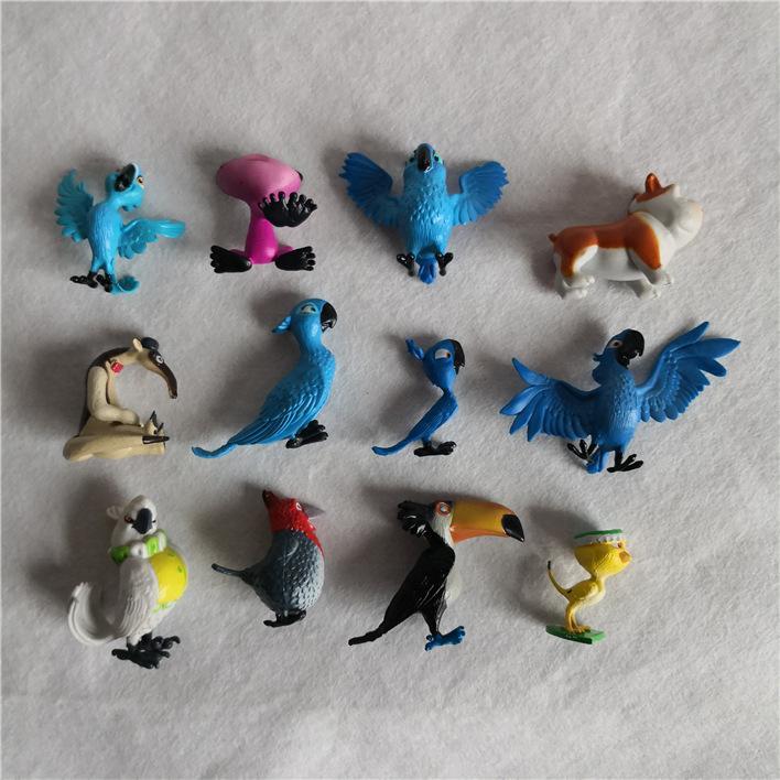 12 pçs / lote animação dos desenhos animados Rio Aventura Diamante Papagaios, Pug Cães, patinhos, formigas Eaters modelo, brinquedos e gits para crianças