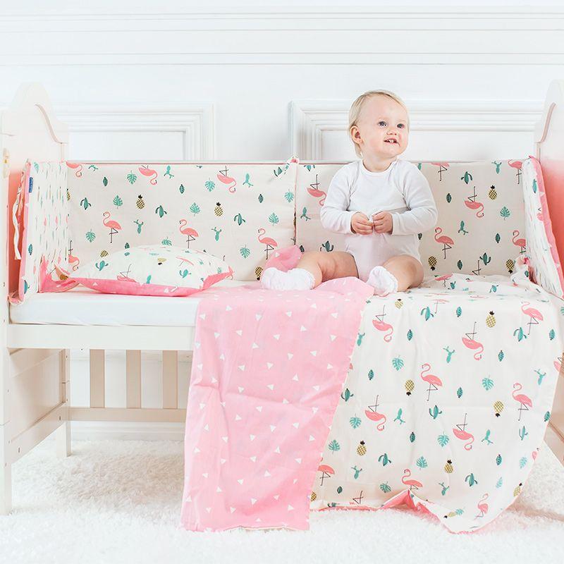 Fundamento do bebê Set Flamingo Pattern Crib Sheet kit que inclui Berço Bumper Plano fronha capa de edredão Berço de suspensão saco para meninas