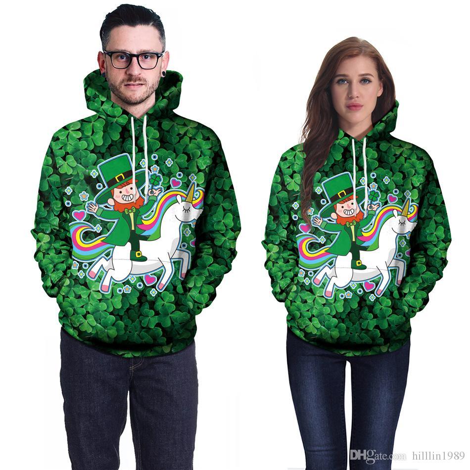 플러스 사이즈 XXL 남성용 3D 유니콘 프린트 셔츠 Green 성 패트릭 데이 Shamrocks Streetwear 옷깃 넥 Fashion Leprechauns Hoodies