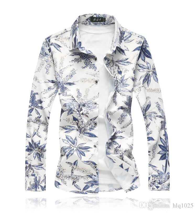Hot Sale Autumn Casual Shirts for Men Fashion Square Collar Long Sleeve Floral Print Shirts Size M-7XL