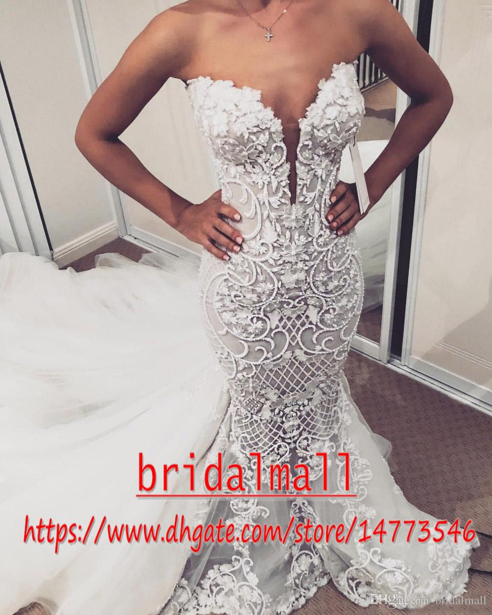 Elegant 2020 Sexy Arabic Mermaid Wedding Dresses Beaded Hand Made