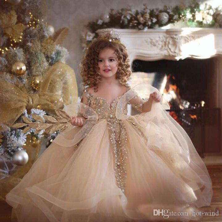 2020 Princess Gold Девушки Pageant платья Кружевные аппликация шариков с длинным рукавом бальное платье девушки цветка Тюль Первое Причастие платья