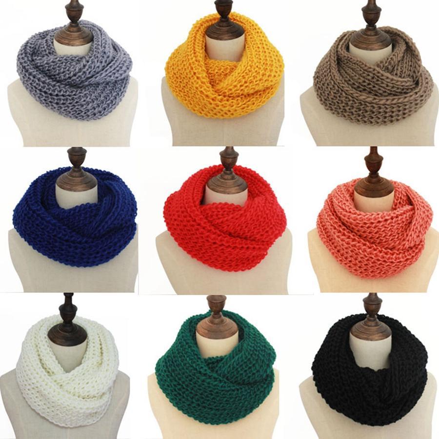 Las mujeres de la bufanda Infinity informal invierno caliente al aire libre que hace punto del anillo suave bufandas de cuello redondo de la manera señoras Mantón de la bufanda de ganchillo TTA1960