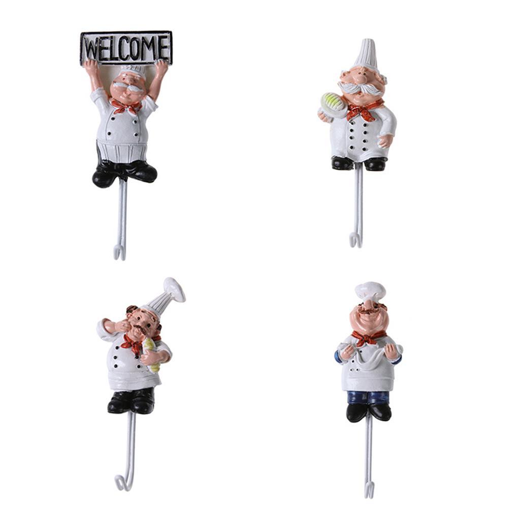 Yihaifu Chef de Dibujos Animados 4pcs Acero Inoxidable pegajoso Gancho de la Ropa Escudo Sombrero Percha Cocina Ba/ño inoxidablesLos Ganchos