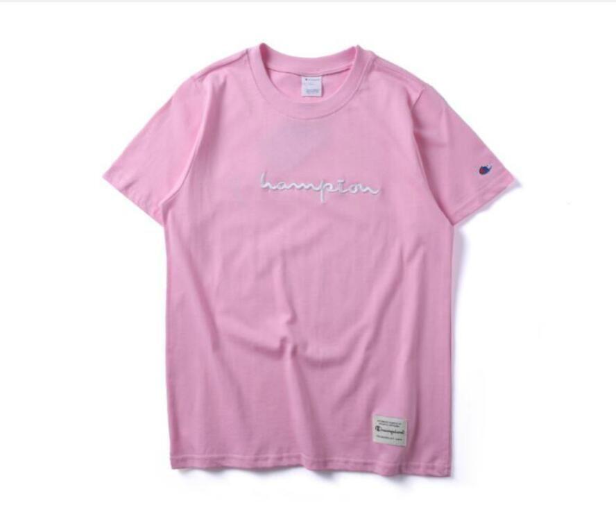 mujeres de los hombres Marca de camisetas de manga corta campeón bordado Carta camiseta del diseñador de ropa de moda camiseta informal mujeres de color rosa tes de las tapas del algodón
