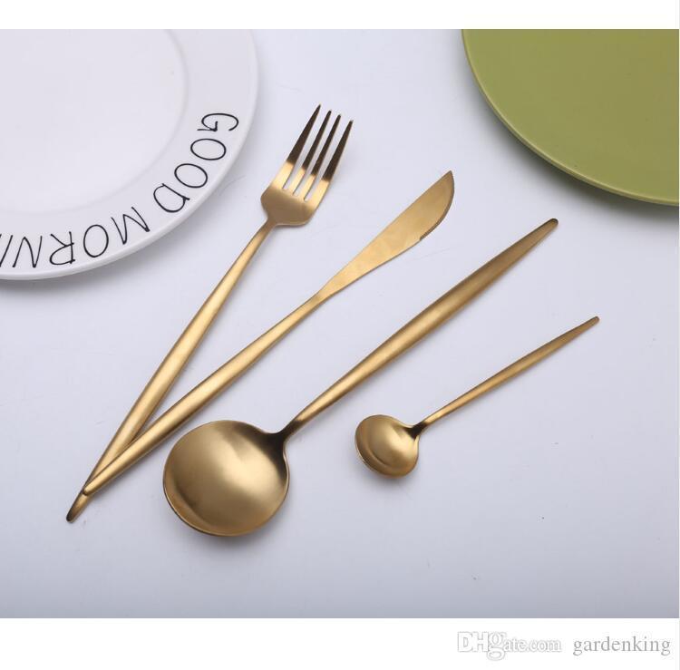 Vente chaude 4 pièces mis couteau dinnerware européen Pure Gold 304 Couverts Western cuisine en acier inoxydable alimentaire Vaisselle Dîner Set