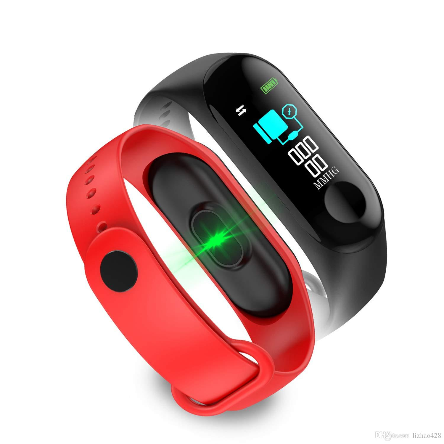 M3 Smart Bracelet Fitness Watch, Heart Rate Monitor, Waterproof Activity Tracker, Message Reminder, Smart Bracelet with Pedometer Compatible