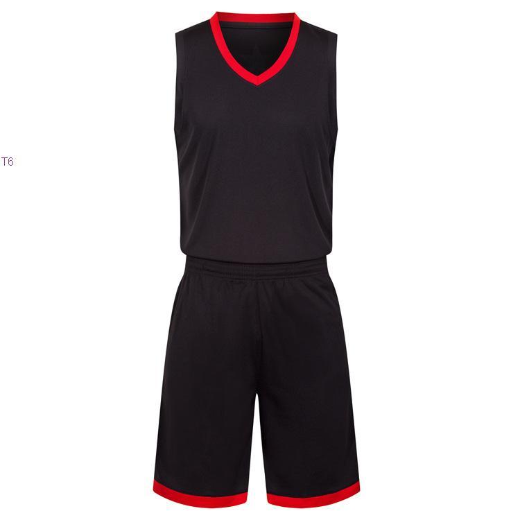 2019 New Blank Basketball Jerseys gedruckt Logo Mens Größe S-XXL günstiger Preis schnelles Verschiffen gute Qualität Schwarz Rot BR0002nh
