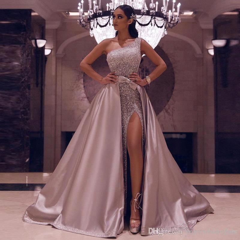 Arabic Sparkly Rose Gold Sequined One Shoulder Prom Dresses Luxury Sequin Sexy High Side Split Evening Gowns Detachable Train BC2792