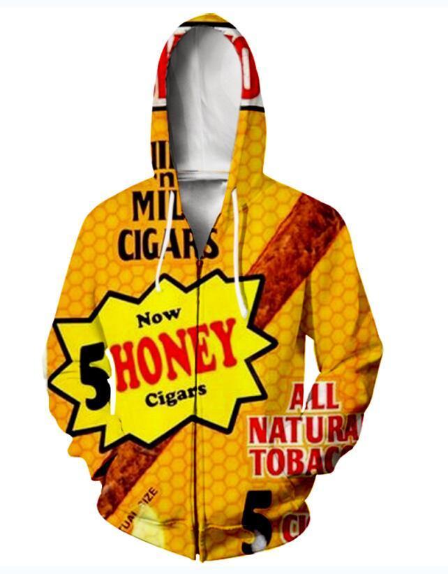 Neue Art und Weise Unisex Sweatshirt Pullover Männer Frauen Hinterwälder Honig Berry Blunts Sweatshirts Harajuku Maxi-Reißverschluss-Jacken-Kleidung