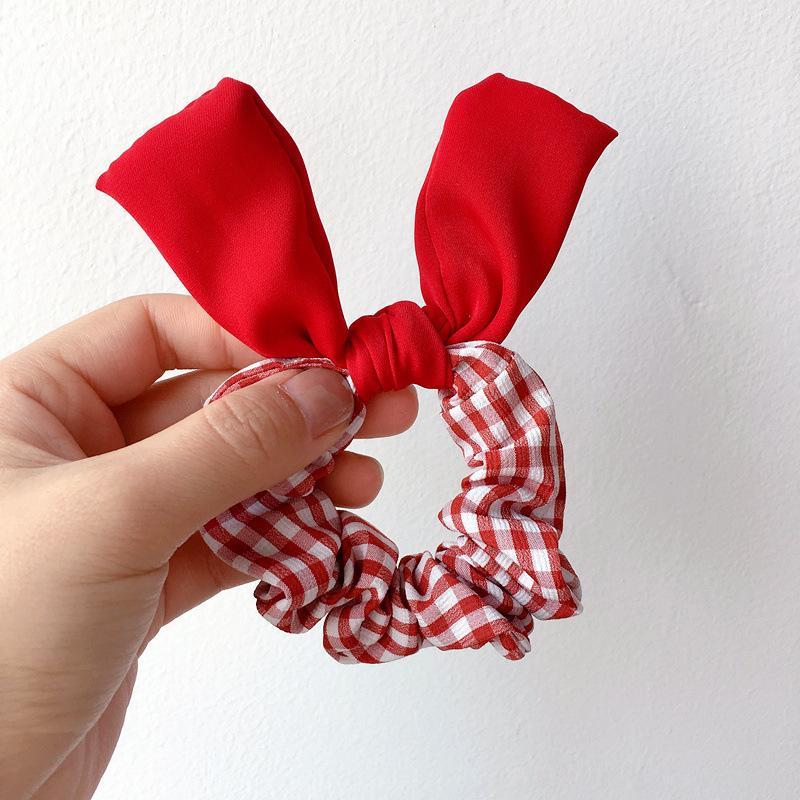 Orejas cuadrado de color de pelo niños simple Cuerdas lindo del enrejado Bandas pliegues del paño de goma para la muchacha de la manera Accesorios para el cabello
