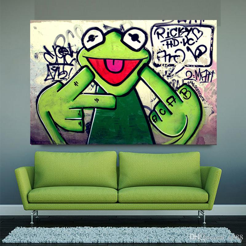 Street Graffiti Art Frog Kermit Finger Painting Canvas Painting Animal Oil Painting Wall Pictures For Living Room 191005