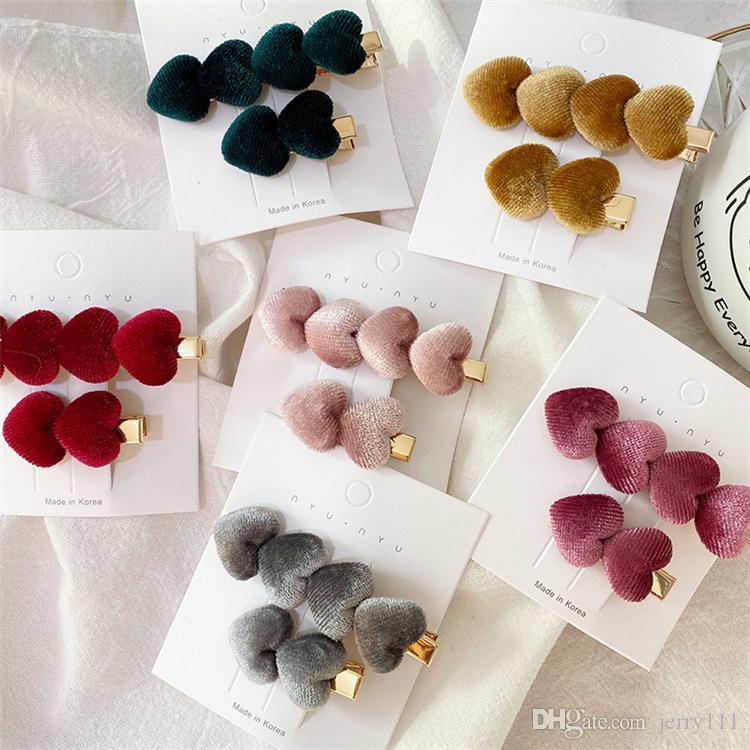 6 couleurs Filles Vintage Velvet forme de coeur épingles à cheveux pinces à cheveux Barrettes hairgrips Couvre-chef Outils de cheveux Accessoires JJ127