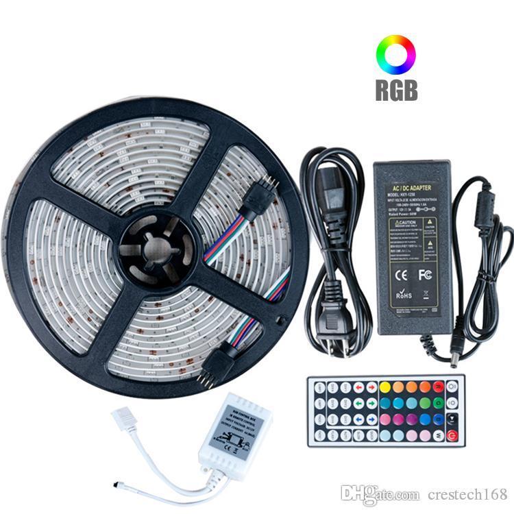 5050 RGB LED 스트립 조명 DC 12V 5M 10M IP20 IP65 방수 LED 램프 거실 + 전원 공급 장치 + IR 원격 제어