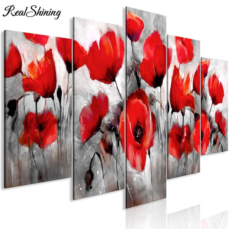 2020 5 Panel Multi Pictures Red Poppies Flowers 5d Diy Diamond
