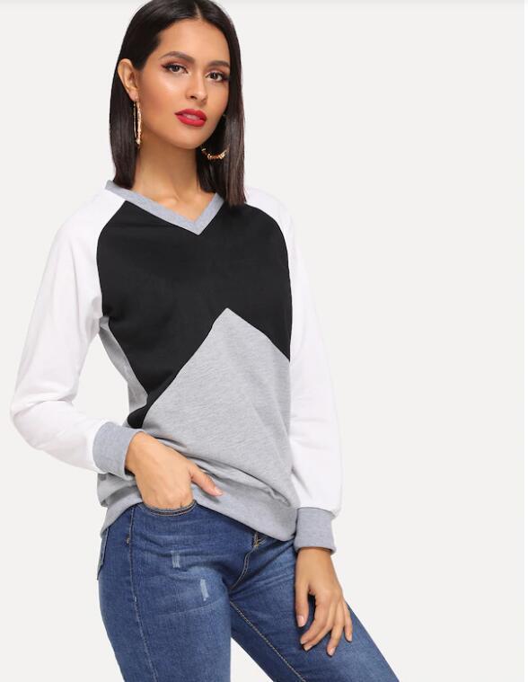 2020 Coton femmes Oversize Sweat-shirt col V Patchwork Filles Casual Tops manches longues Vêtements Mode 8019