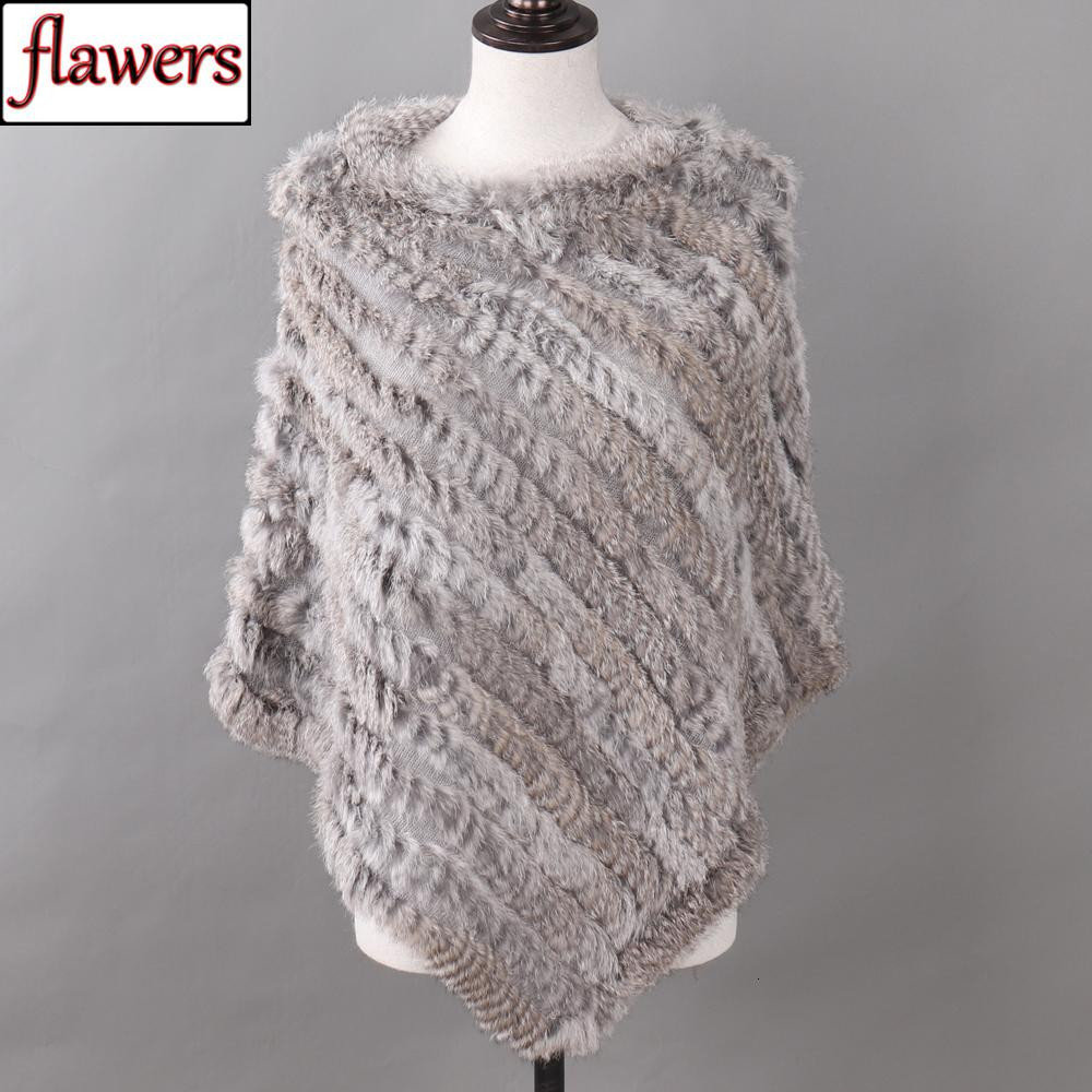 Autumn Winter Lady Genuine Knitted Rabbit Fur Poncho Wrap Scarves Women Natural Rabbit Fur Shawl Triangle Cape Wholesale Retail Y191017