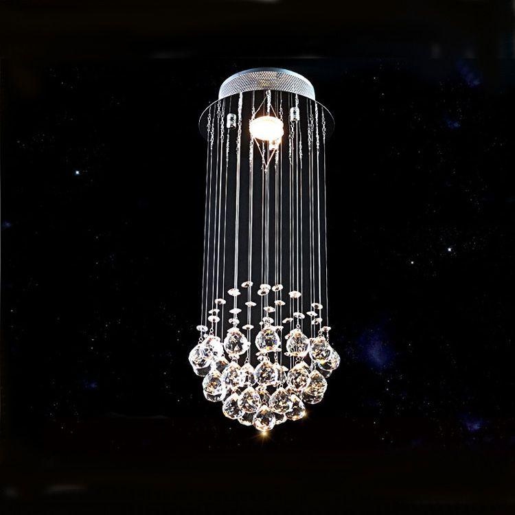 Moderne K9 cristal éclairage lustre en chaîne Lustre en spirale Goutte de cristal éclairage Chandeliers escalier lumières pour escalier