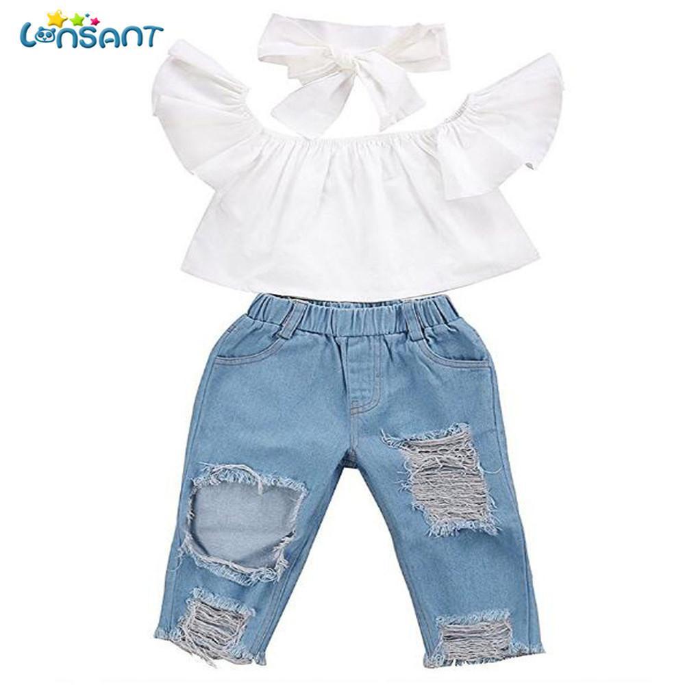 Lonsant Moda Meninas 3 pcs Bebê Fora Do Ombro Colheita Tops + Buraco Quebrado Denim Pant Jeans Headband Da Criança Crianças Roupas Y190522