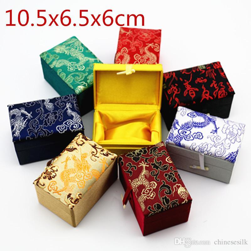 Retângulo Macio Chinês Caixa De Presente De Jóias De Seda Pulseira De Artesanato Caixa De Armazenamento De Tecido Trinket Caixa De Embalagem Decorativa 4 pçs / lote