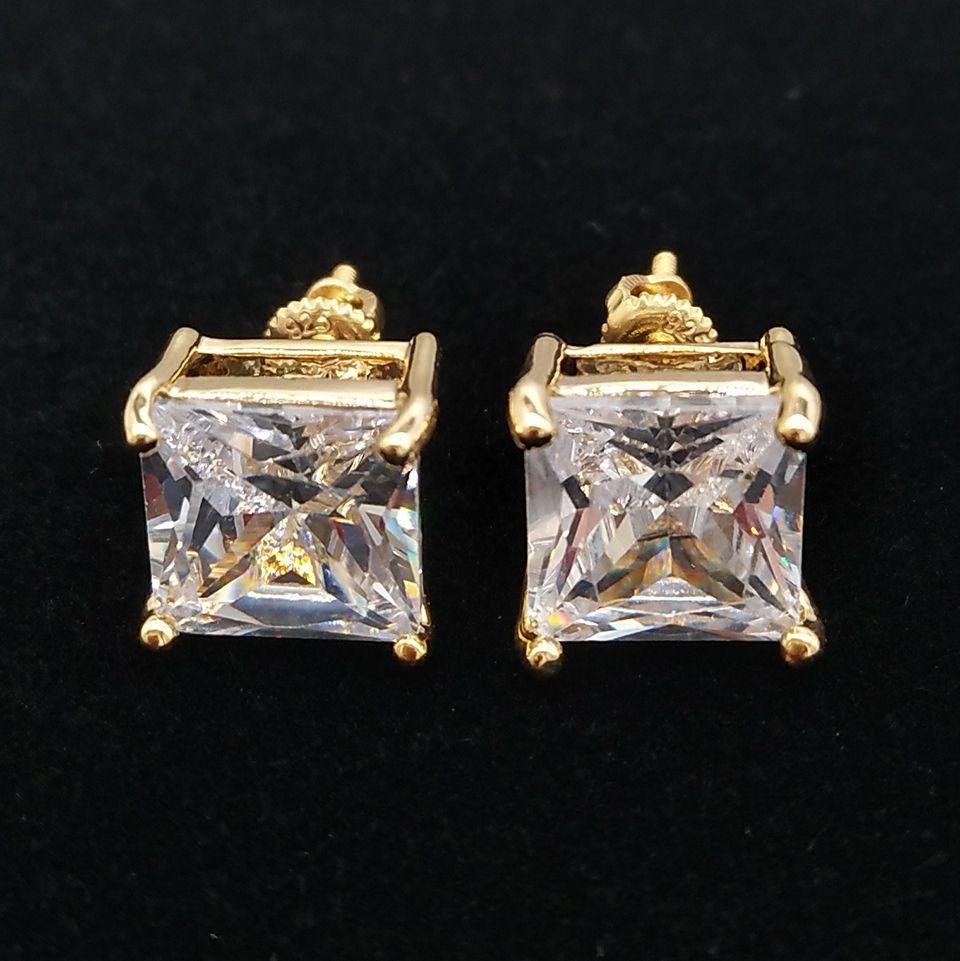 패션 18k 골드 힙합 아이스 아웃 CZ 큐빅 지르콘 스퀘어 스터드 귀걸이 남성 전체 다이아몬드 귀걸이 스터드 랩퍼 보석 0.4 0.7 0.9 cm 선물