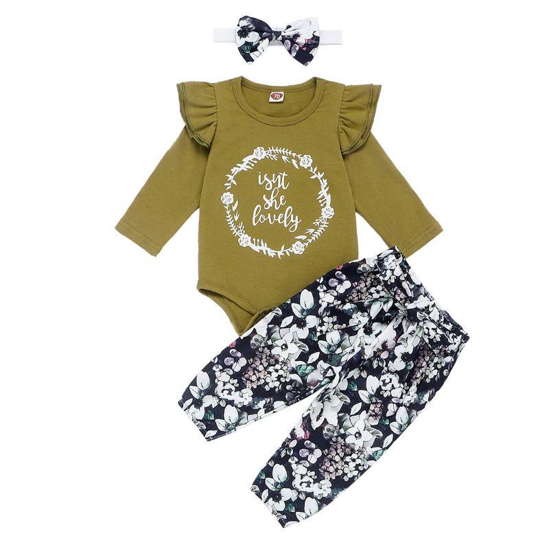 Establece niños niñas floral letra de la historieta infantil del bebé Tops del estampado leopardo pantalones Conjunto ropa para niños niñas floral con banda de sujeción 06 Sombreros