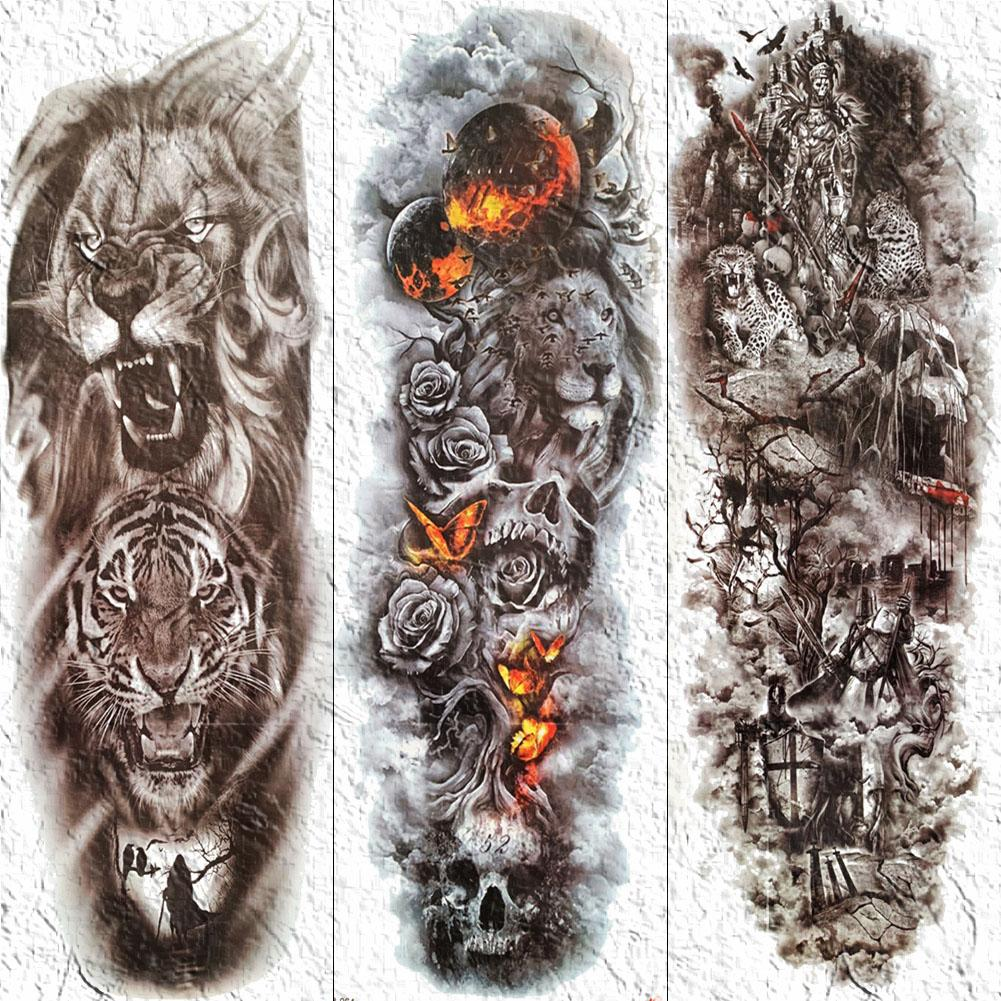 3d Men Full Arm Body Art Tattoos Temporary Fire Butterfly Lion Tattoo Sticker For Women Body Art Skull Painting Fake Tatoo Paper Tattoo Finder Tattoo Henna From Sophine07 23 91 Dhgate Com