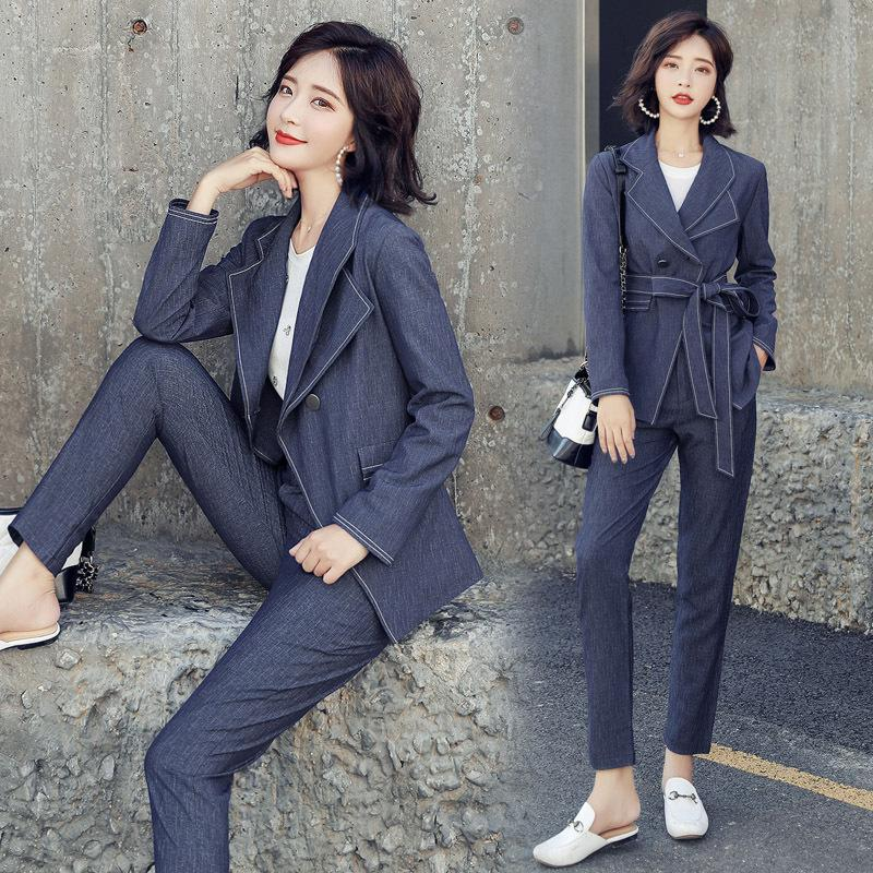 Clothes and pants two-piece 2018 new autumn and winter section retro slim lapel suit jacket + temperament wild straight pants