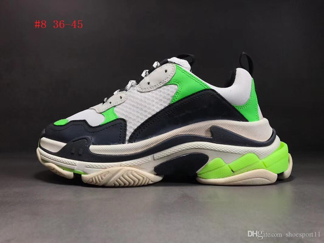 Novo 2019 Top Quality Dad Shoes Paris 17FW Triple-S Tênis Homens / Mulheres RunShoes Calçados Esportivos Szie 36-45