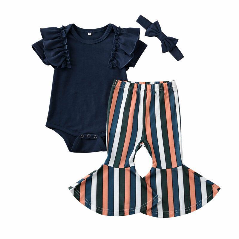 Младенческая одежда для девочек с коротким рукавом черный рюшами комбинезон топ полосатый расклешенные брюки повязка на голову 3 шт детские девушки повседневная одежда