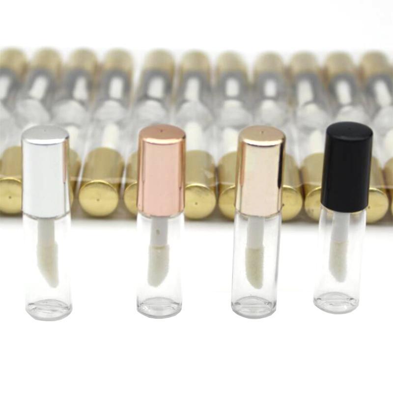 100 adet Boş Şeffaf Plastik Dudak Parlatıcısı Tüpler 1.2 ml Dudak Tüp Ruj Gül Altın Kaplı Mini Örnek Kozmetik Konteyner