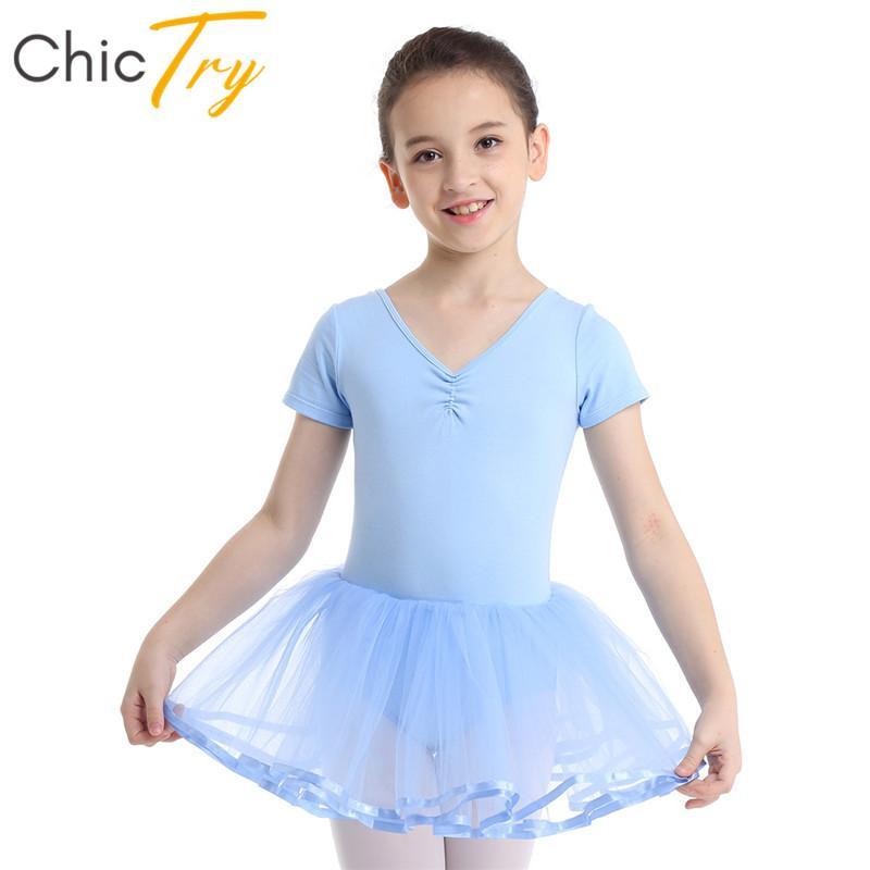 ChicTry أطفال بنات الباليه توتو شبكة الرقص اللباس القطن قصير الأكمام الجمباز الباليه ثياب الأطفال مرحلة الرقص زي