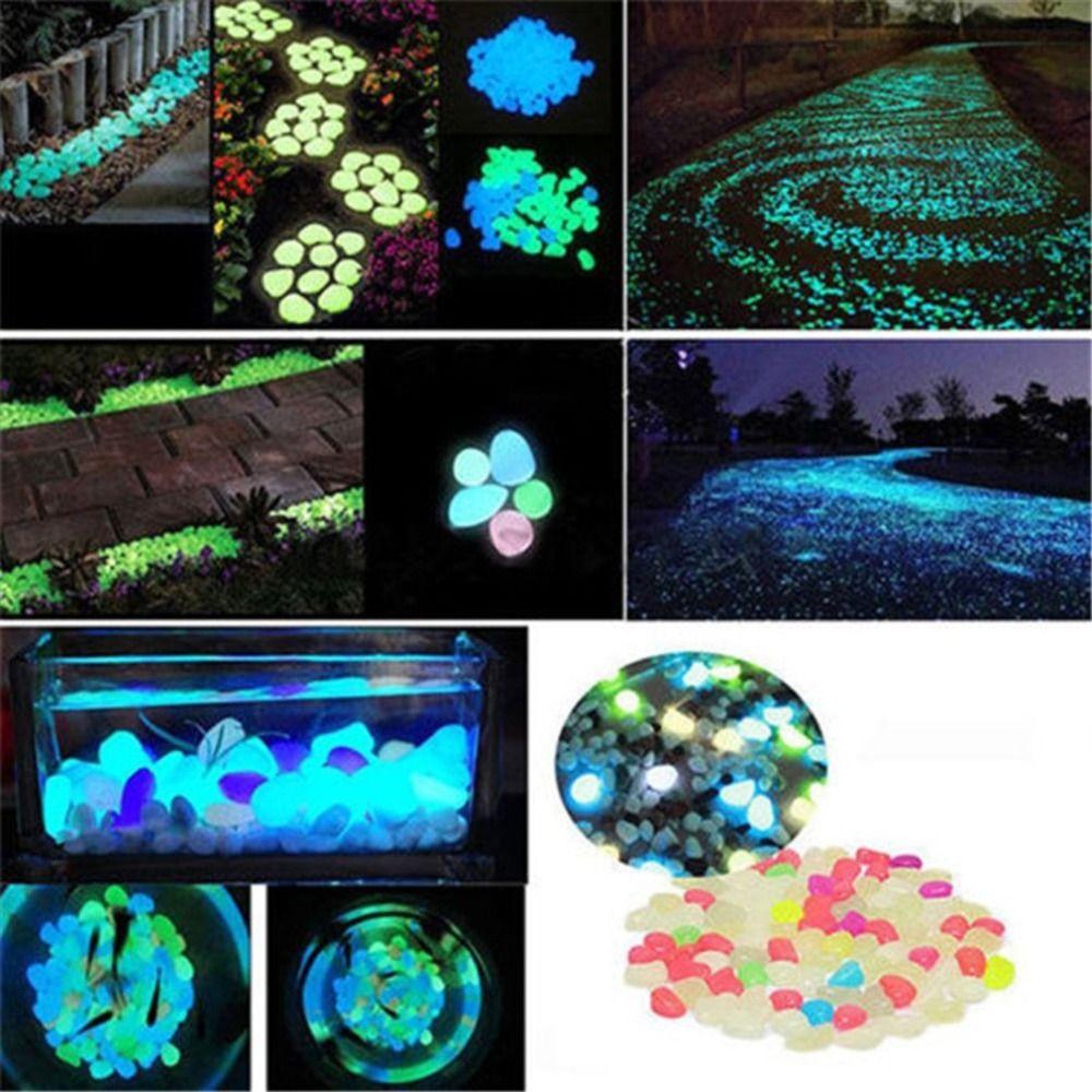 100pcs Seixos por passarelas fulgor de pedras rochas para jardim ao ar livre decorativa Luminous Pebbles Gravel Fairy Garden Pathway