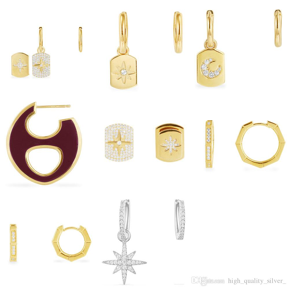 FAHMI 100% 925 sterling silver octagonal asymmetrical meteor design earrings set with stars gold yellow silver wine red enamel oval earrings