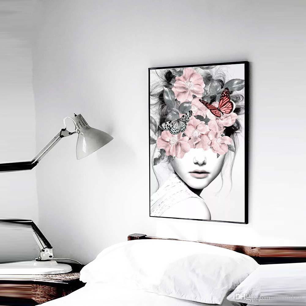 DHL Flower Girl Portrait Canvas Prints Picture Posters Wall Art Painting For Living Room Modern Home Decoration Free Shipping