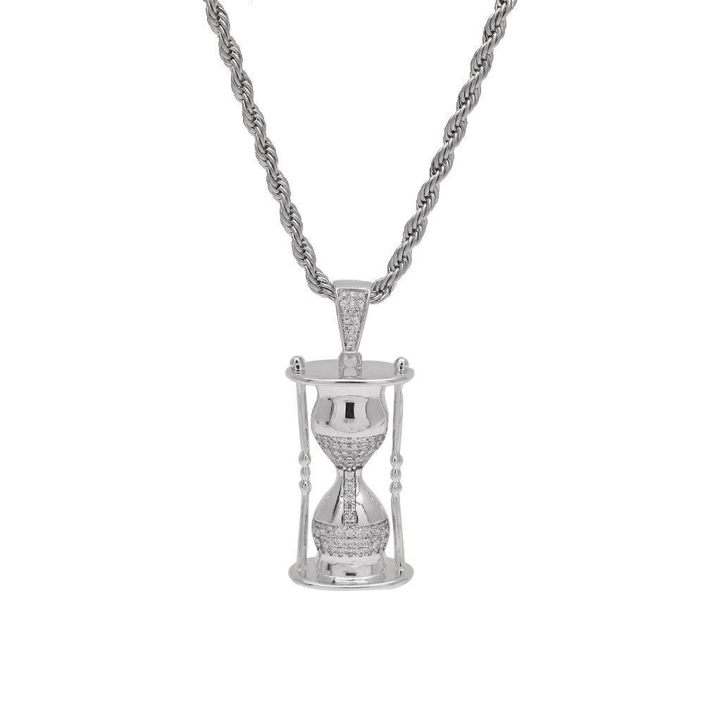 2020 Роскошные Шарм Hourglass ожерелье Песочный часы 2 цвета Iced Out песочных ожерелья мужской хип-хоп ювелирных изделий Рождественский подарок M668F
