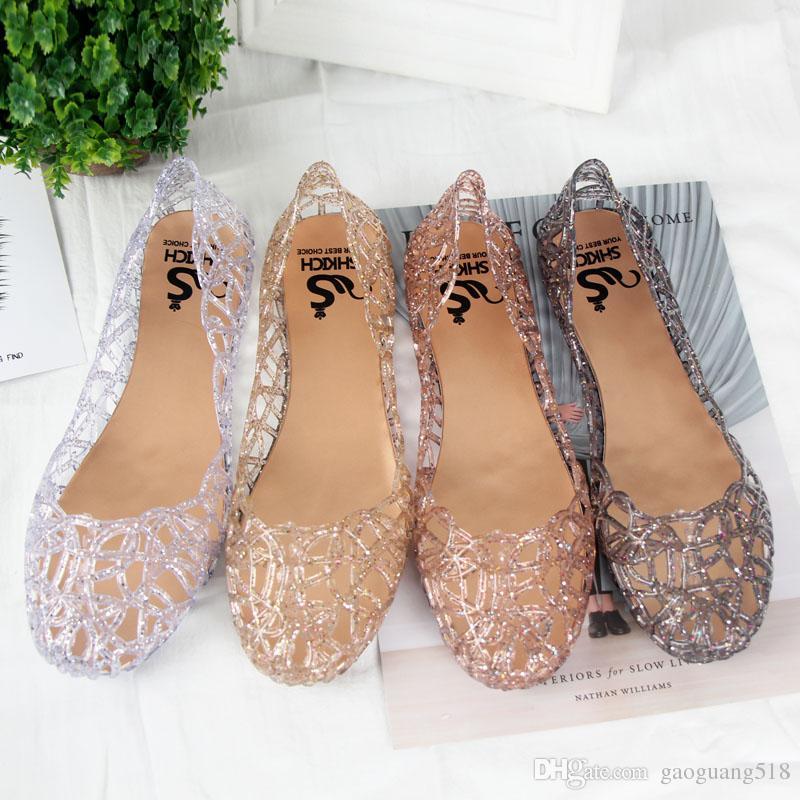 Летняя женская обувь на плоской подошве с птичьим гнездом, обувь из пластика, кристалл, желе, полые сетчатые сандалии