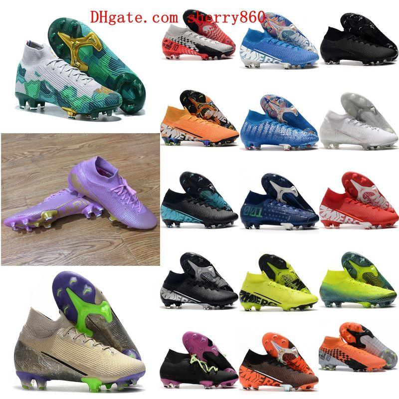 2021 Scarpe da calcio Arrivo Mens Tacchetti Mercurial Superfly 7 Elite NJR CR7 FG Stivali da calcio ad alta caviglia NEYMAR RONALDO TACOS DE FU