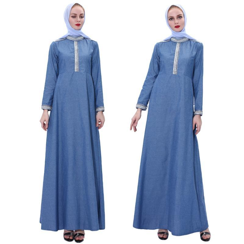 Fashion Denim Kaftan Abaya Dubai Islam Muslim Dress Abayas Women Caftan Robe Jilbab Maxi Cocktail Gown Turkish Islamic Clothing