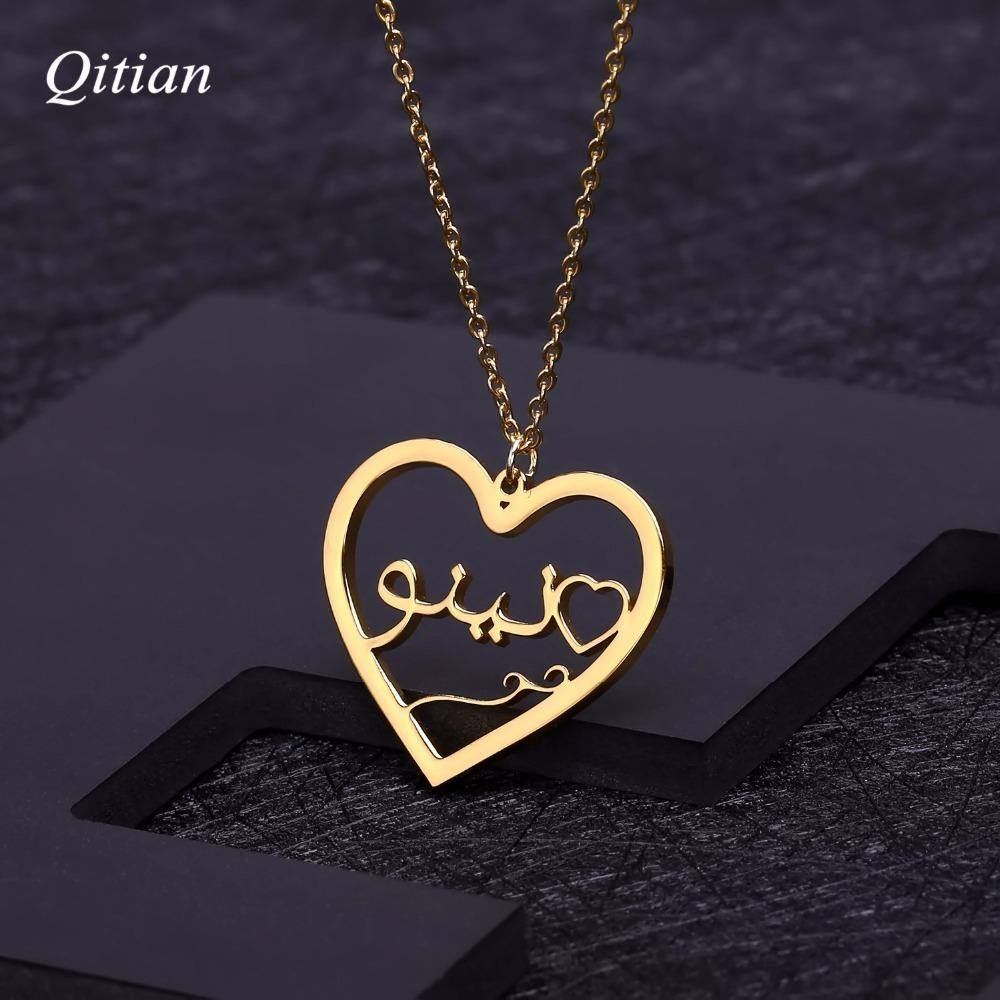Personalized Arabic Heart Necklace Stainless Steel Customized Nameplate Necklaces For Birthday Gift Gold Stainless Steel Jewelry