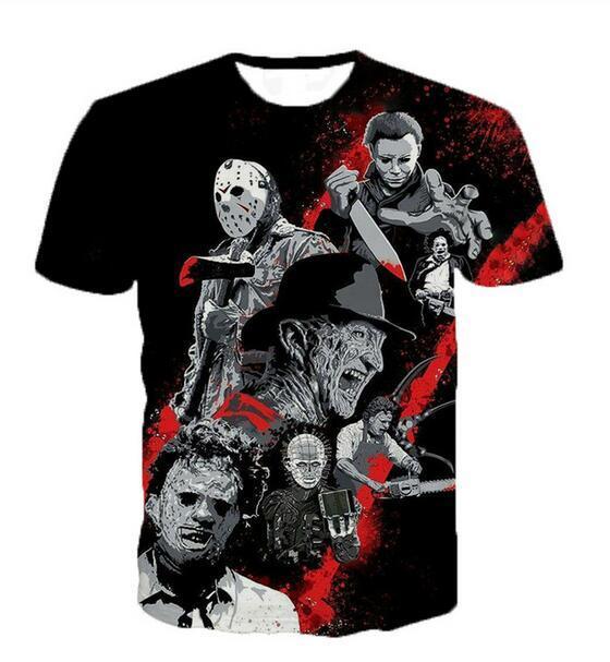 Neueste Art und Weise der Männer / Womans Horrorfilme Sommer-Art-T-Shirts 3D-Druck-beiläufig T-Shirt Tops Plus Size BB0171