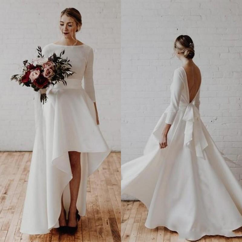 2020 Asymmetrische Brautkleider Backless 3/4 Langarm-A-Linie Sash drapierte High Low Garden Country Beach Brautkleider robe de mariée