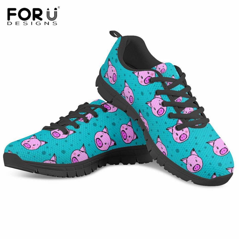FORUDESIGNS Spring Ladies Flats Schuhe Pink Blue Pig Prints Sneakers Damen Freizeitschuhe Teeanger Student Lace up Walking