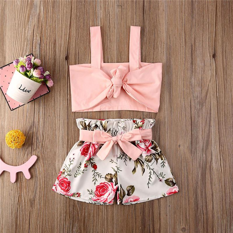 80-120 kids baby girls shorts set two piece floral flowers clothing set crop tank vests + belt bow shorts tracksuit beach party Cloth D6416