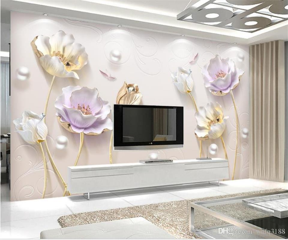 Benutzerdefinierte Größe 3D Fototapete Wohnzimmer Wandbild 3D Schmuck Tulip Blumen Bild Wandbild Wohnkultur Kunst Kreative Hotel Studie Wandpapier 3 D