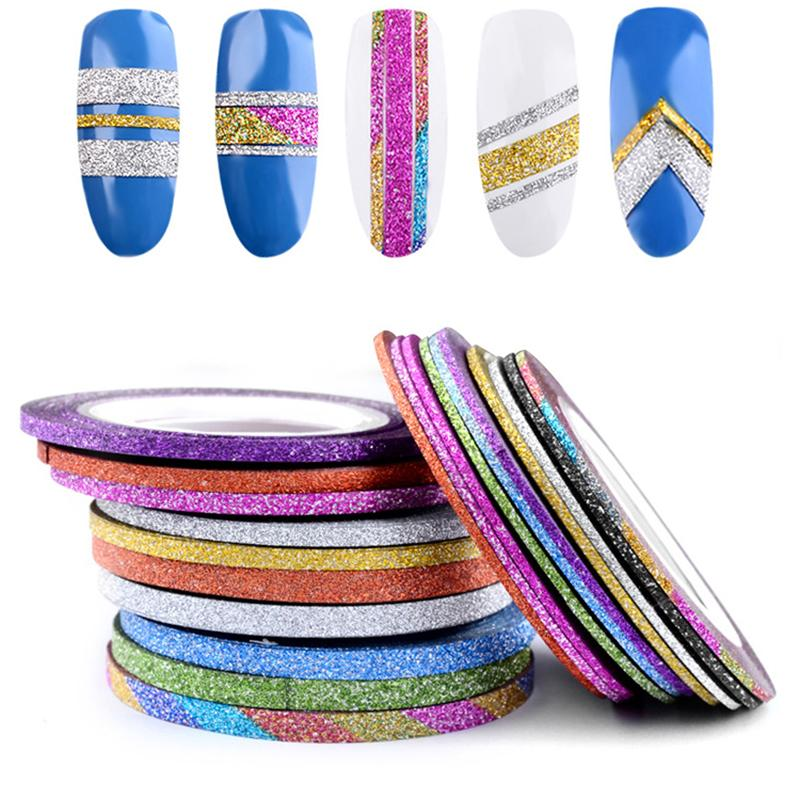 Matte Nail Sticker Circle Width 1 2 3 mm available Colorful Nail Art Stickers Manicure Circle Self-Adhesive Stickers N50DL