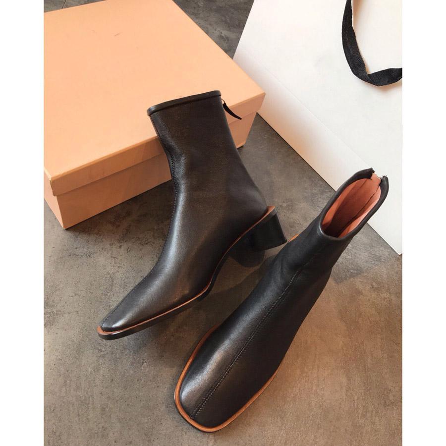 Venta caliente- Nuevo 2019 Acn Studios Square Toes Super Soft Ladies Designer Lambskin Women Basic Basic Boots