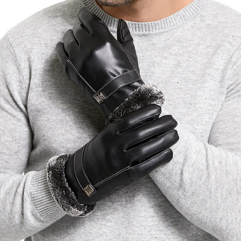 Men's Winter Leather Gloves Men's Touch Screen Outdoor Driving Windproof Warm Business Gloves Winter