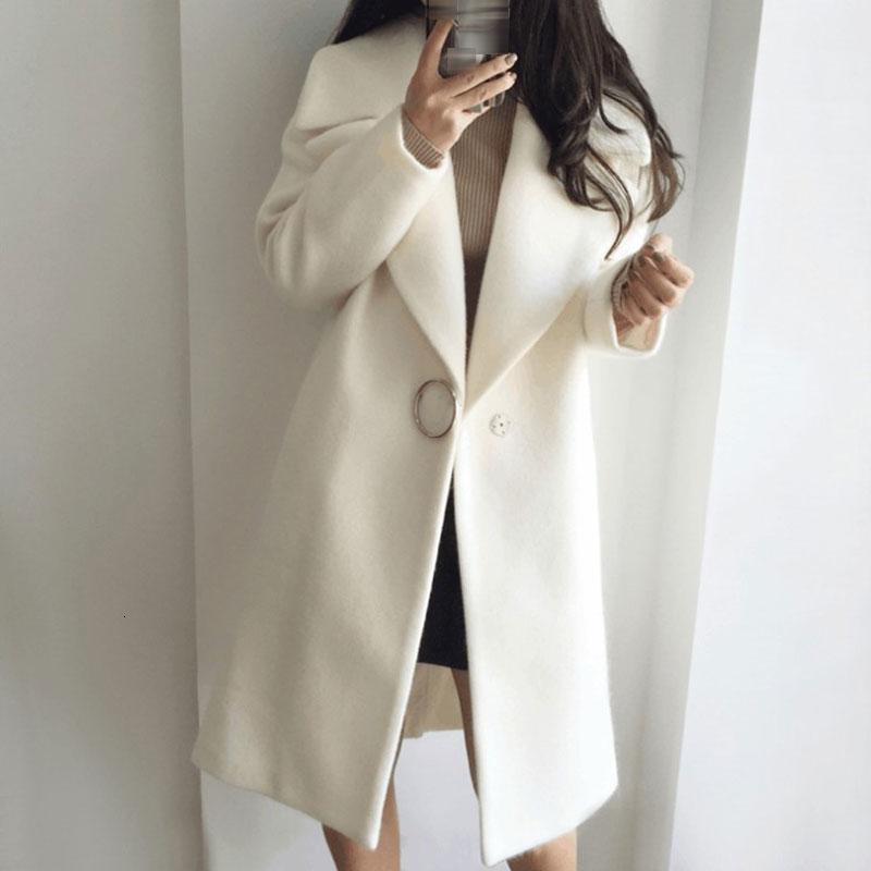 2019 Nova fina mistura de lã Brasão Mulheres manga comprida Vire-down Collar Outwear Jacket Casual Outono Inverno elegante Overcoat Lazer V191029