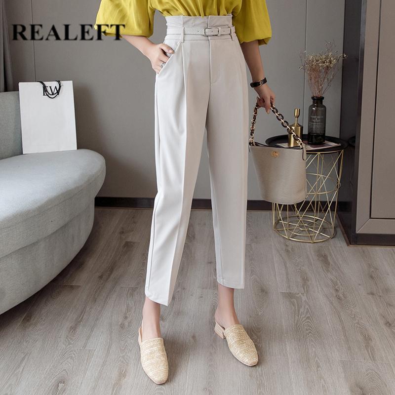 REALEFT OL Style Blanc Femmes Pantalon Casual Crayon Pantalon Avec Ceinture Taille Haute Élégant Travail Pantalon Femme Casual 2019 Nouvelle Arrivée Y200418